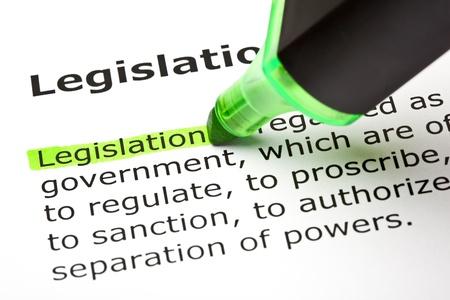 The word Legislation highlighted in green,  under the heading Legislation