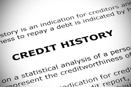 'CREDIT HISTORY' heading printed on a white page with vignette effect