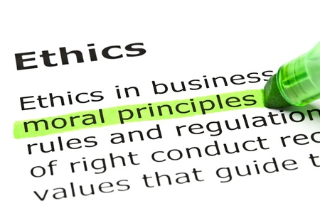 'Moral principles' highlighted in green, under the heading 'Ethics'
