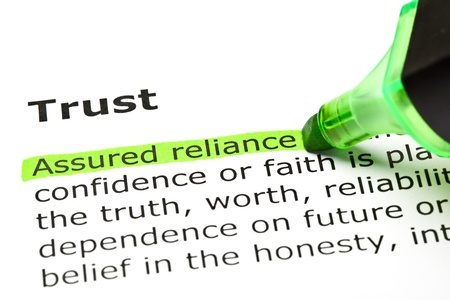 Foto de 'Assured reliance' highlighted in green, under the heading 'Trust' - Imagen libre de derechos