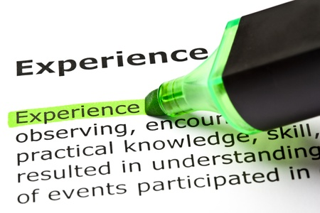 The word 'Experience' highlighted in green with felt tip pen