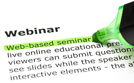Photo pour 'Web-based seminar' highlighted in green, under the heading 'Webinar' - image libre de droit