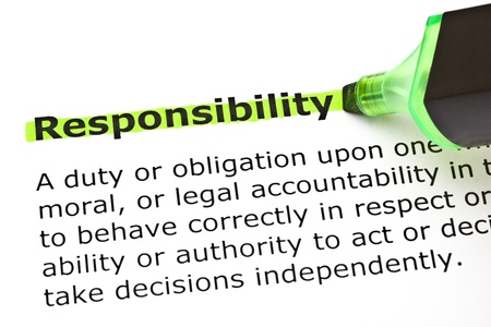 Definition of the word Responsibility highlighted in green with felt tip pen