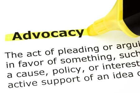 Definition of Advocacy highlighted with yellow felt tip pen