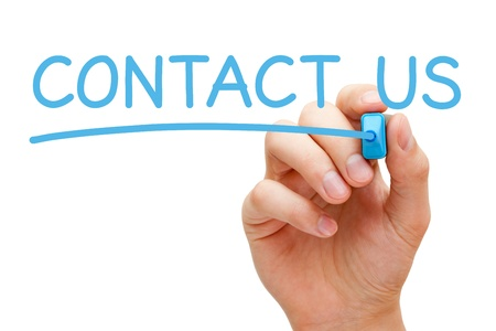 Hand writing Contact Us with blue marker on transparent wipe board.
