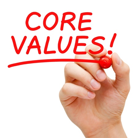 Hand writing Core Values with red marker on transparent wipe board.