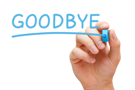 Hand writing Goodbye with blue marker on transparent wipe board isolated on white.