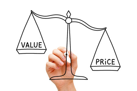 Hand drawing Price Value scale concept with black marker on transparent wipe board isolated on white.