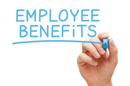 Photo pour Hand writing Employee Benefits with blue marker on transparent wipe board isolated on white. - image libre de droit