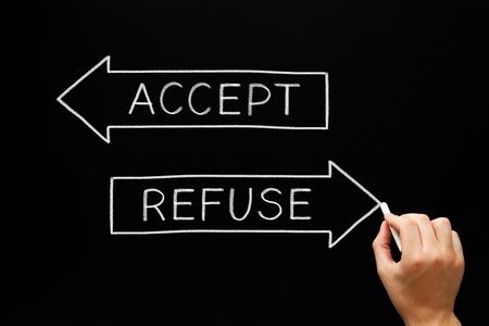 Accept Or Refuse Arrows Concept