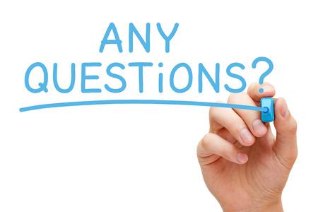 Photo pour Any Questions Handwritten With Blue Marker - image libre de droit
