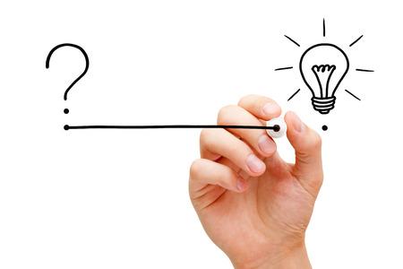 Photo pour From Question To Implementation Of Great Idea Concept - image libre de droit