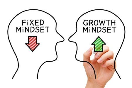 Photo for Hand drawing Fixed Mindset vs Growth Mindset success concept with black marker on transparent wipe board. - Royalty Free Image