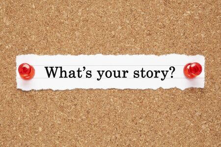 Photo pour Question What is your Story printed on piece of white paper pinned on cork bulletin board. - image libre de droit