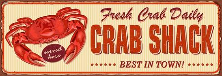 Illustration for Vintage Crab Shack metal sign. - Royalty Free Image