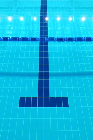 Detail from indoor swimming pool, water and lines