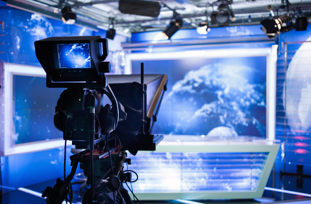 Photo for Video camera - recording show in TV studio - focus on camera - Royalty Free Image