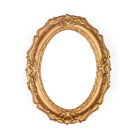 Photo for old golden picture frame, isolated on the white background - Royalty Free Image