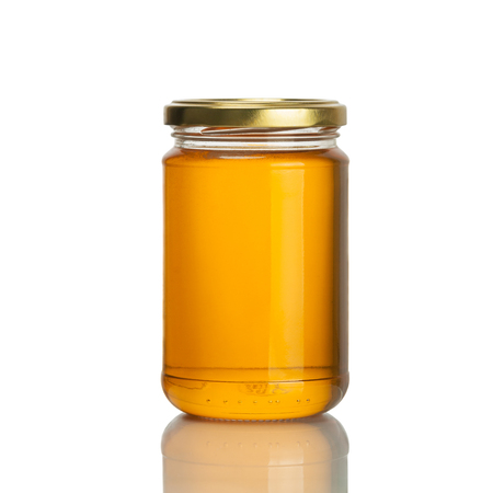 bee honey jar on white background, isolated