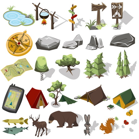 Illustration pour Isometric 3d forest hiking elements for landscape design. Tent and camp, tree, rock, wild animals. Navagation equpment. Vector illustration - image libre de droit
