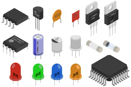 Illustration pour Isometric Electronic components icons set. Electrical components collection - image libre de droit