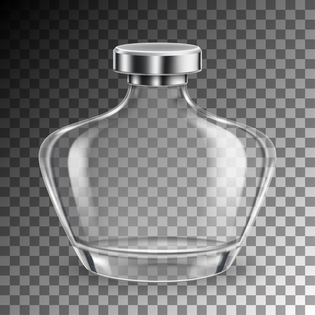 Perfume empty glass bottle in realistic style on transparent background isolated. vector illustration