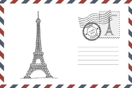 Illustration pour Envelope with hand drawn Eiffel Tower - image libre de droit