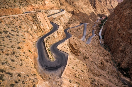 Winding road in Dades gorges valley, Morocco, Africa