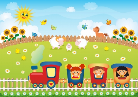 Children riding train on the