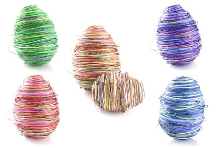 abstract red easter egg from raffia