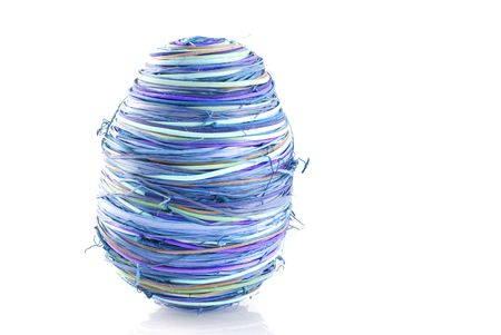 abstract blue easter egg from raffia