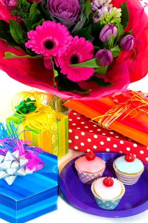 Sensational Happy Birthday With Fancy Cakes Presents And Flowers Royalty Free Funny Birthday Cards Online Sheoxdamsfinfo