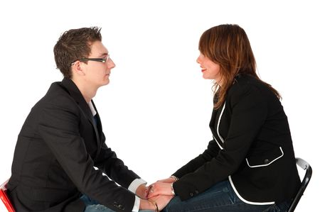 couple is serious talking isolated over white