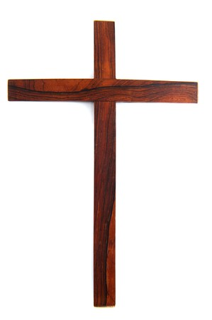 Simple wooden Christian cross isolated over white