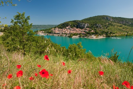 Lac de Saint Croix in the Provence with view on Bauduan