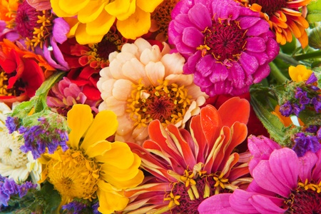 colorful flower bouquet with many different mixed flowers