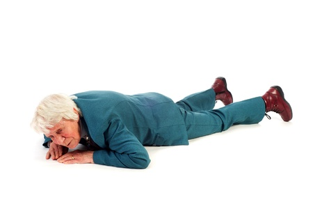 Old woman is fallen at the floor
