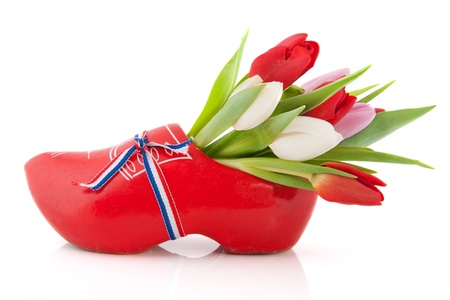 Typical Dutch wooden clog with tulips