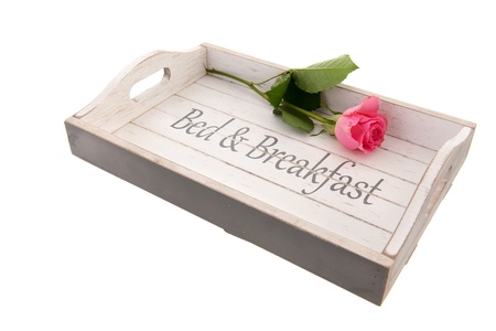 Wooden tray for bed and breakfast with pink rose