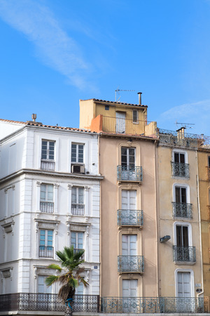 Facade from apartments in French city Narbonne