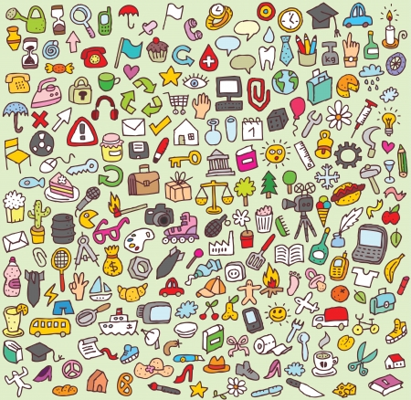 XXL Doodle Icon Set   collection of numerous small hand-drawn icon illustrations