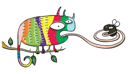 Chameleon and Fly Cartoon