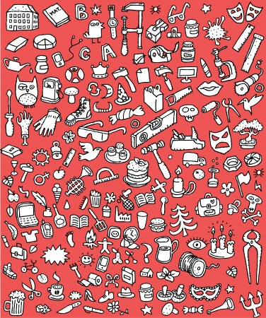Illustration pour Big Doodle Icons Set   collection of numerous small hand-drawn illustrations  vignette  in black and white  No  5  - image libre de droit