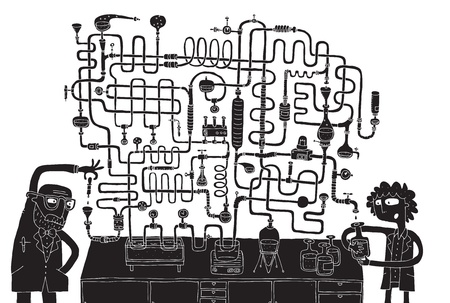 Laboratory Maze Game in black and white with isolated layers  Task  Find the right way  Solution is in hidden layer  Illustration