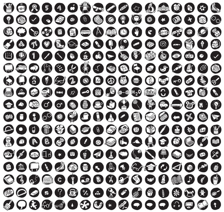 Collection of 289 school and education doodled icons (vignette) on black background, in black-and-white. Individual illustrations are isolated
