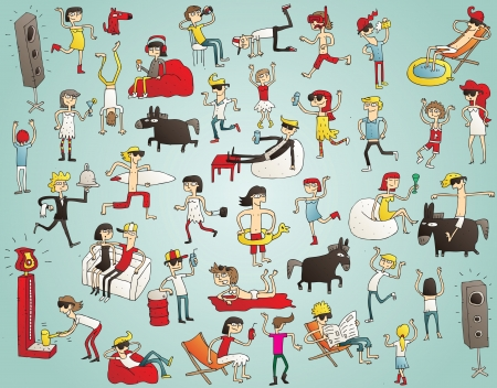 Collection of young people having fun (isolated), dancing, drinking etc. Illustration is hand drawn, elements are isolated