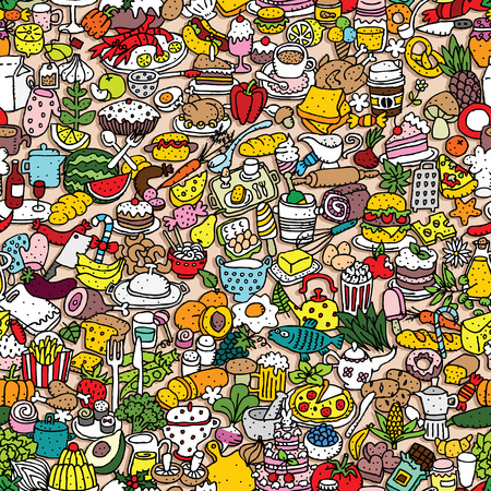 Illustration pour Food seamless pattern (repeated) with mini doodle drawings (icons). Illustration is in  vector mode. - image libre de droit