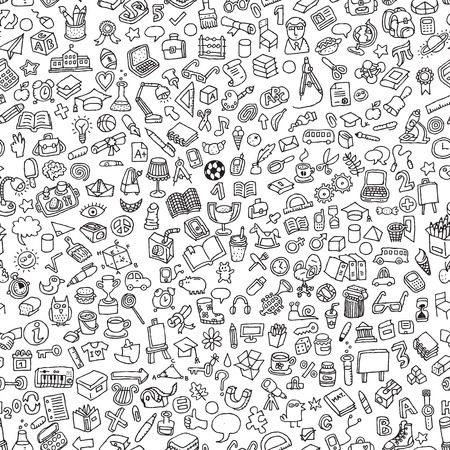 School seamless pattern in black and white (repeated) with mini doodle drawings (icons). Illustration is in vector mode.