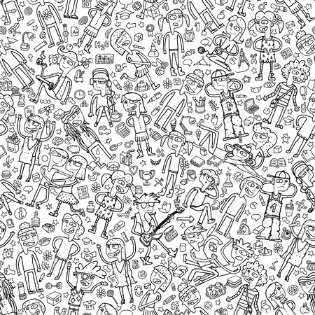 Singing children seamless pattern with doodled youngsters and school objects in black and white. Illustration is in vector mode, background on separate layer.