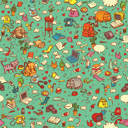 Illustration pour Technological Everyday Objects seamless pattern in colors. Collection of various isolated objects and pets. Illustration is eps10 vector, shadows in multiply mode. - image libre de droit